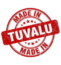 made in tuvalu red grunge round stamp vector image