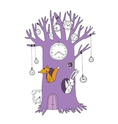 Magic tree clock fox and hare vector