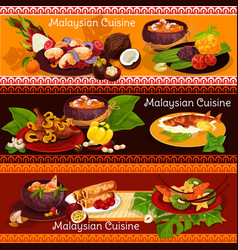 Malaysian cuisine banner for exotic asian menu vector