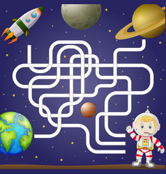maze game template with space and astronaut vector image