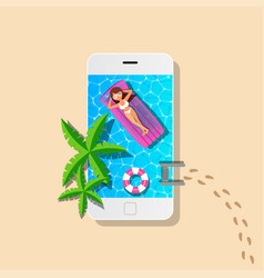 Mobile and swimming pool with woman relaxing vector