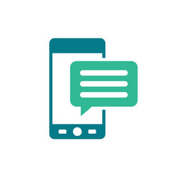 Mobile icon with text message - speech bubble vector