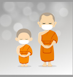 Monks and novices with white mask on airborne vector
