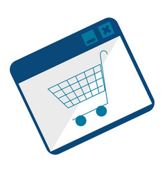 monochrome square with shopping cart vector image
