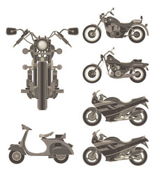 motorcycle icon set isolated side view flat vector image