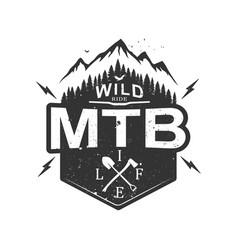 Mtb mountain biking retro decorative emblem vector