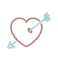 neon heart and arrow icon vector image