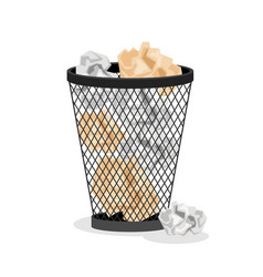 Office basket with crumpled paper vector
