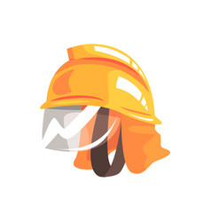 Orange safety helmet for fireman vector
