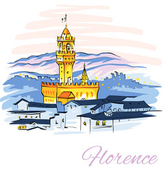 palazzo vecchio in florence tuscany italy vector image