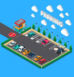 Parking lot isometric composition vector