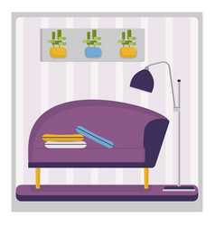 purple couch in living room vector image