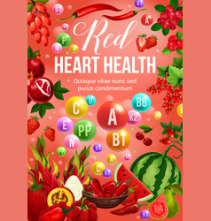 Red color diet vegetables and fruits vector