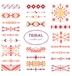 red ethnic brush set in tribal style vector image
