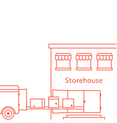 red thin line storehouse building vector image