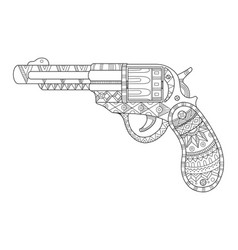 Revolver pistol coloring book vector