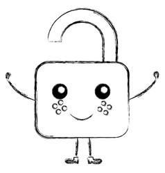Safe padlock kawaii character vector