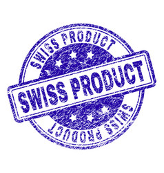 Scratched textured swiss product stamp seal vector