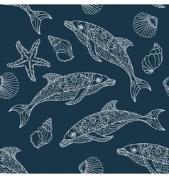 seamless dolphin pattern vector image