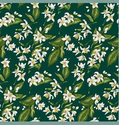 seamless pattern with citrus tree branches made vector image