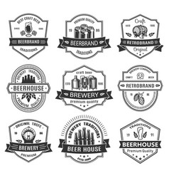 set badges with beer objects vector image