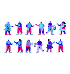 set funny boys and girls holding string vector image