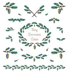 Set of cute pine tree twigs decorative elements vector