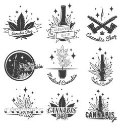 Set of medical marijuana labels in vintage style vector image