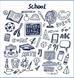 set of school stuff hand drawn vector image