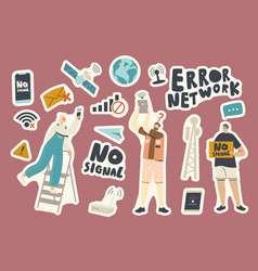 Set stickers no wifi signal theme people with vector
