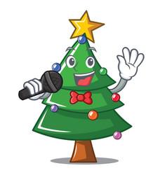 Singing christmas tree character cartoon vector