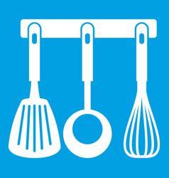 Spatula ladle and whisk kitchen tools icon white vector