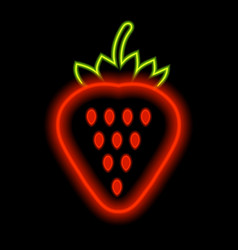 strawberry neon lights against a black background vector image