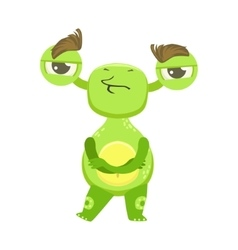 Stubborn Funny Monster Standing With Arms Crossed vector