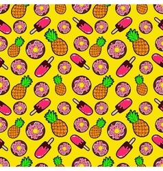 Sweets Food Seamless Pattern with Donuts vector