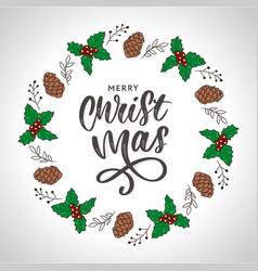 Trendy hand lettering with colorful christmas vector