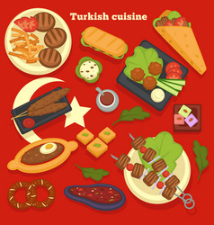 Turkish cuisine meals and dishes culinary recipes vector