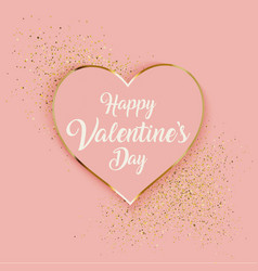 valentines day background with heart and gold vector image