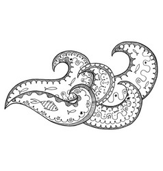 Wawe zen tangle and doodle black and white vector