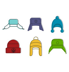 winter hat icon set color outline style vector image