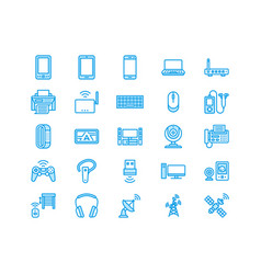 Wireless devices flat line icons wifi internet vector