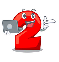 With laptop cartoon paper number two on letter vector