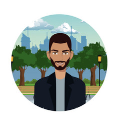 Young man in the park city background vector