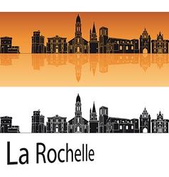 La Rochelle skyline in orange background vector image vector image