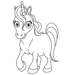 outlined cute unicorn vector image vector image