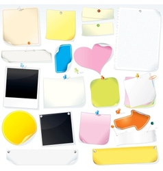 Paper Notes Stickers Labels and Memo Sticks vector image