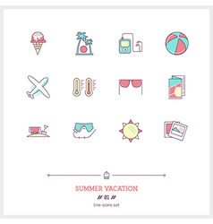 summer vacation line icons vector image
