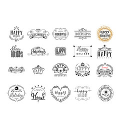typographic badges - happy holidays on the basis vector image vector image