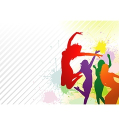 Dancing Colorful Girls vector image vector image