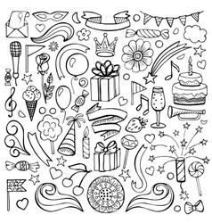 Happy birthday hand drawn set vector image vector image